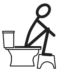 Stick figure drawing showing natural squatting position to help eliminate constipation