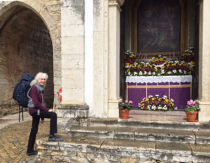 Lora visiting a cathedral