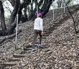 Joan hiking